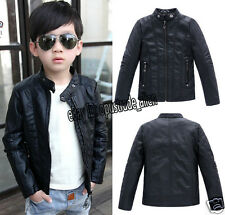 Hot Child Kids Boys Leather Front Zip Motorcycle Leather Jacket Biker Coat