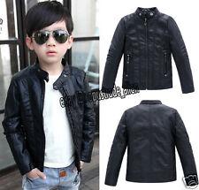 Hot Child Kids Boys Leather Front Zip Motorcycle Leather Jacket Biker Coat