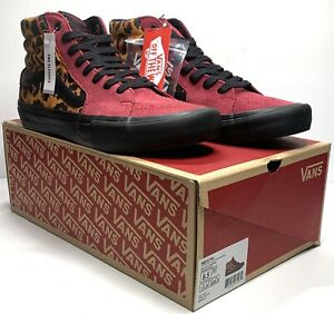 New Vans Sk8-Hi Pro Punk Beet Maroon Red/Black Leopard Men Size 8 Suede Canvas