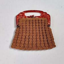 Vintage Art Deco Brown Corde Crochet Purse Celluloid Handle Birds Phoenix