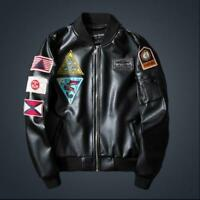 Embroidery Mens Stand Collar Outwear Bomber Coats Pilot Leather Jacket Top Sbox1