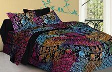 Mandala Quilt Cover Tie Dye Queen Cotton Printed Indian Duvet Cover Elephant