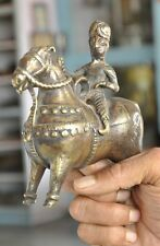 Old Brass Wax Casted Engraved Solid Handcrafted Horse Rider Figurine
