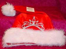 HOLIDAY TIME * RED AND WHITE WITH JEWEL TRIM  HAT* 15 INCHES FROM TOP TO BOTTOM