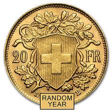 Swiss Gold 20 Francs Helvetia Almost Uncirculated AU (Random Year) - SKU #19