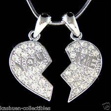 w Swarovski Crystal You Me Best Friends Heart Love Friend 2 Pendant Necklace New