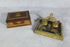 Ensemble de bureau boite à timbres + encrier Style 1er empire Napoléon III