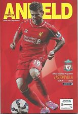 Football Programme>LIVERPOOL v ASTON VILLA Sept 2014