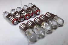 10x 12V E5 Lilliput LED Warm White Wheat Grain Screw 00 OO HO Scale Signal Bulbs