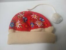 Embroidered Floral Red Baby Hat Oriental Style