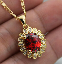 18K Yellow Gold Filled- 8*10MM Oval Ruby Topaz Flower Party Gem Pendant Necklace