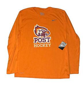 NEW The Nike Tee Dri-Fit Post Hockey Graphic Shirt Adult XL Orange Tagless NWT