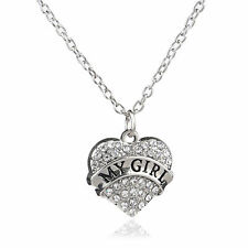 MY GIRL SILVER NECKLACE WITH SHINY STUDDED CLEAR CRYSTAL HEART PENDANT  #KC34
