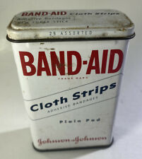 Band Aid Cloth Strips Tin Can 1940s Vintage Medical First Aid Collectible