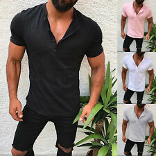 Mens Plain T-Shirt Slim Fit Buttons V Neck Muscle Top Summer Casual Blouse Tee