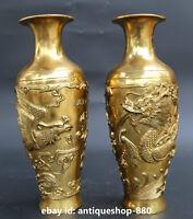 "10.6""Collect Chinese Bronze Dragon Phoenix Auspicious Bottle Vase Flask Jar Pair"