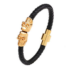 Punk Gothic Leather Twin Skull Magnetic Clasp Wrap Rope Braided Bracelet Mens