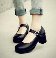 Sweet Women Lolita Girl Round Toe Buckle Mary Jane Ankle Strap Block Heels Shoes