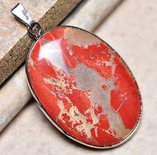 "Bloodstone Jasper Sea Sediment Quartz Natural Gemstone 1.75"" Silver Pendant #15"