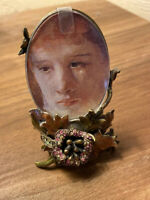 Designer Jay Strongwater Enamel & Jewels Small Oval Picture Frame Stand