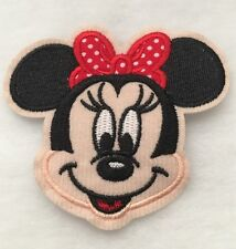 "3.5"" Embroidered Minnie Mouse Face w/red polka dot bow Iron On Applique patch"