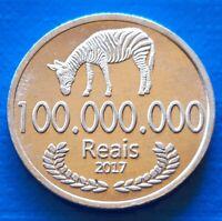 Cabinda 100 M Reais 2017 UNC Zebra