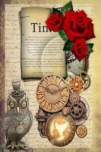 STEAM PUNK MIX BACKING PAPERS/CARD - PACK OF 4/12 A4 SHEETS - 160gsm
