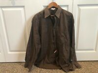 Mens Zanella Brown Checkered Shirt Size Large L