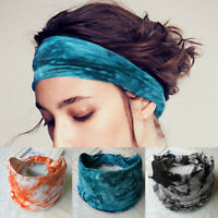 Women's Print Knot Hair Band Yoga Sports Wide Headband Cotton Headwrap Headwear