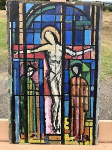 Antique French Art Stained Glass Painting On Paper / Board Religious
