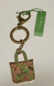 Vera Bradley Green, Gold & Pink Tote Around Tutti Frutti Key Chain - New