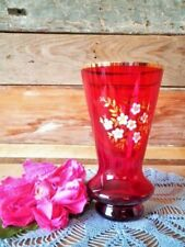 VINTAGE RUBY RED GLASS VASE BOHEMIA ENAMEL FLOWERS GILDING EXCELLENT COND 15CM