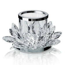 Crystal Lotus Candle Holder Pair Glass Tealight Holder Flower Decor Gift 2.6'