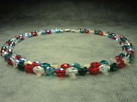 Vintage Bohemian 2-Row Multi-Colored Faceted Aurora Borealis Bead Glass Necklace