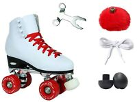 New! Epic Classic Elite High-Top Quad Roller Skates White w/ Red Outdoor Wheels