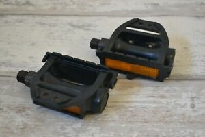 """Vintage LU-871 Resin Pedals Set with CatEye Reflectors 9/16"""" Pair"""