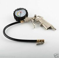 220 PSI Pistol-type Air Chuck with Dial Tire Inflator Gauge w/ Flexible Hose