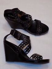 7 BCBGeneration Black Leather Ladies Shoes Womens High Heel Strappy Bowler Wedge