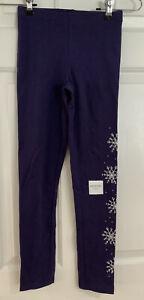 Old Navy Girls Leggings Stretch Built-In Tough Purple Snowflake Print L 10 -12