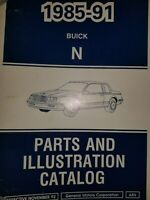 1985 thru 1991 Buick Parts & Illustration Catalog Manual N Body Skylark