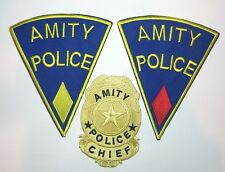 JAWS Movie SHERIFF BRODY Amity Police Set of (3) Embroidered Logo Patch Set