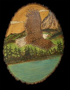 Hand Carved Wood Eagle Wall Plaque Patriotic Folk Art Vintage 14""