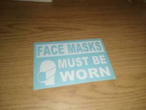 FACE MASKS MUST BE WORN TAXI VINYL GRAPHIC STICKERS set of 2