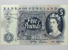 £5 Page (Fforde Overlap) Prefix 13H ~ BE105d EF ~ Five Pound Note