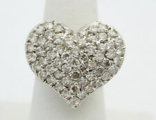 10k Yellow Gold YG Amazing Large White CZ Heart Cocktail Ring Size 9 8.1g GG300