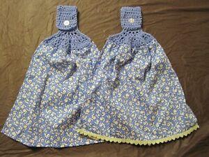 LOT OF 2 PIONEER WOMAN BLUE CLASSIC CHARM CROCHET TOP KITCHEN BATH HAND TOWELS