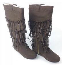 "June Ambrose ""Adeline"" Tall Leather Fringe Boots, WALNUT, NIB, Size 7M $139"