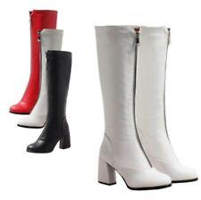 Invierno moda mujeres Bloque Talón la rodilla alta botas de montar Puntera Redonda Boda Zapatos D