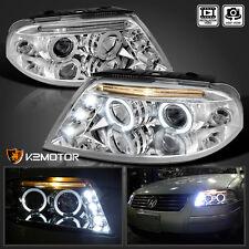 For 2001-2005 VW Passat LED Halo Projector Headlights Chrome Pair