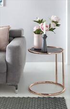 Table d'appoint table en verre breloques 45x45 cm métal verre noir/cuivre